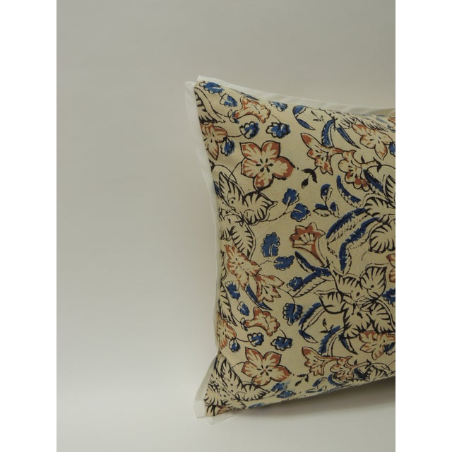 Decorative throw bolster pillow handcrafted with a hand-blocked floral vintage cotton artisanal Indian hand-blocked...