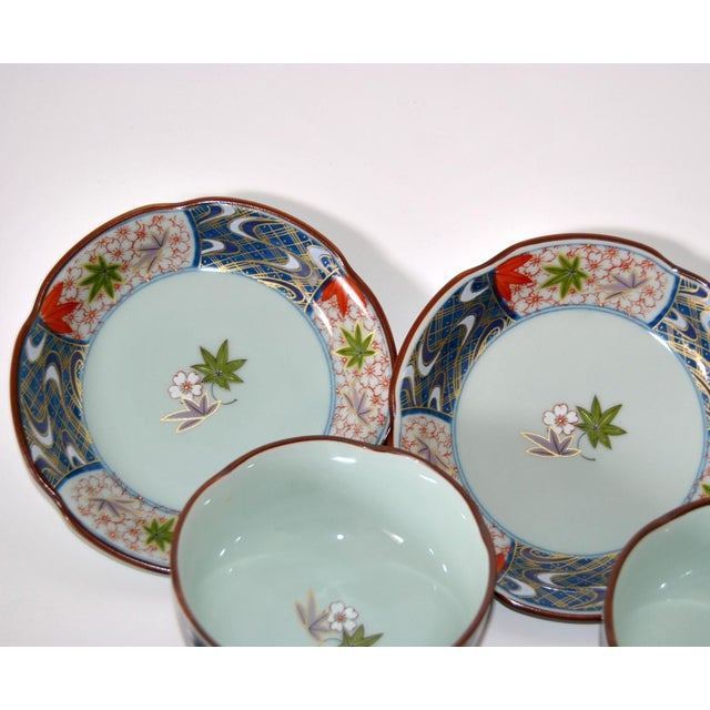 1970s Vintage Cherry Blossom Shaped Celadon Arita Imari Cups, Saucers & Box - Set of 10 For Sale - Image 5 of 9