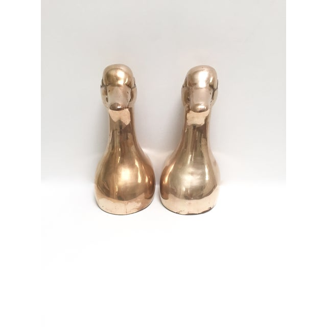 Large Vintage Brass Duck Head Bookends- A Pair - Image 3 of 8