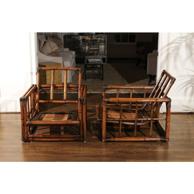 A Warm and Mellow Restored Pair of Cube Loungers by Ficks Reed, Circa 1970 For Sale In Atlanta - Image 6 of 11