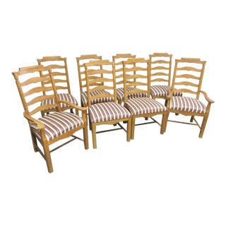 Drexel Heritage Country Style Ladderback Dining Chairs- Set of 8 For Sale