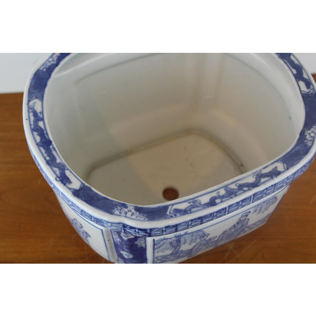 Asian Vintage Mid Century Chinese Garden Scene Planter For Sale - Image 3 of 7