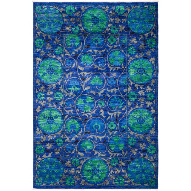 """Suzani Hand Knotted Area Rug - 5' 3"""" X 7' 8"""" - Image 4 of 4"""