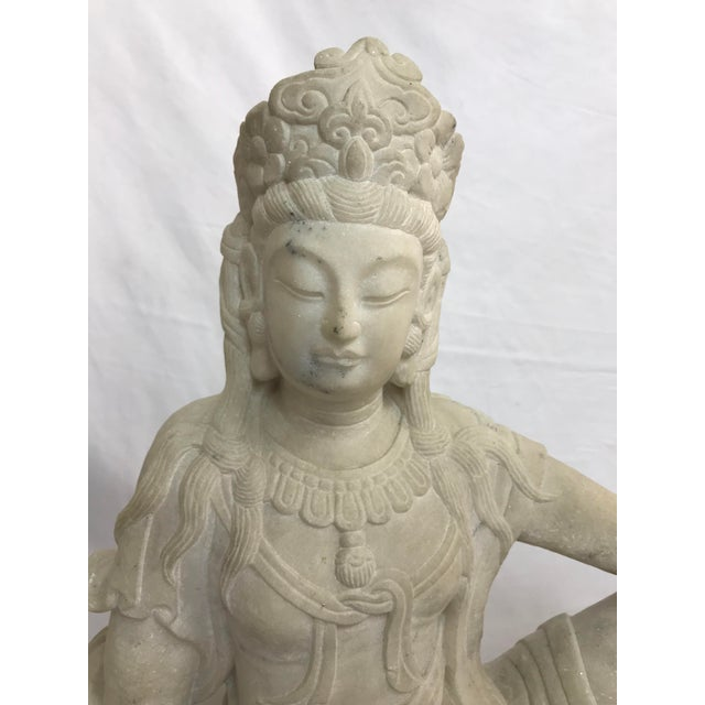 Guanyin / Guan Yin Bodhisattva Carved Marble Immortal Reclining Buddha Figure For Sale - Image 4 of 12