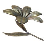 Image of Vintage Reversible Brass Flower Ashtray For Sale