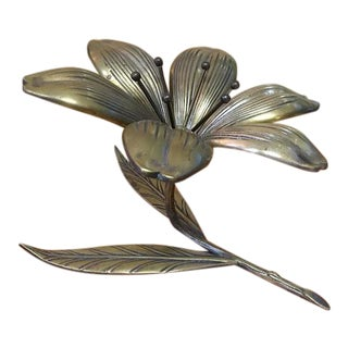 Vintage Reversible Brass Flower Ashtray For Sale