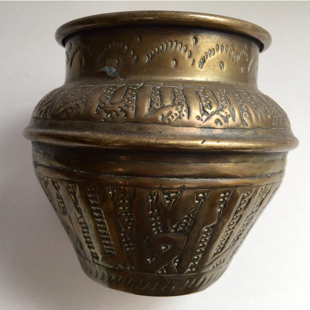 Brass Middle Eastern Syrian Brass Bowl Hammered With Islamic Kufic Writing For Sale - Image 7 of 12