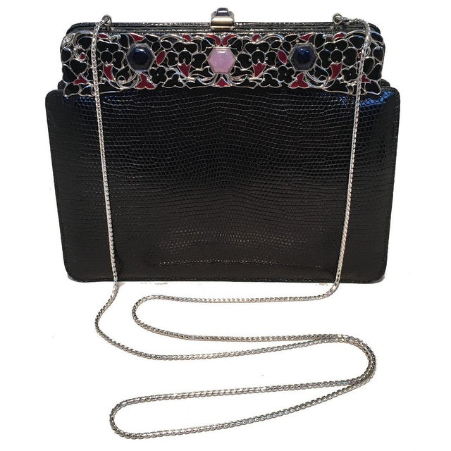Silver Judith Leiber Black Lizard Floral Enamel Top Clutch For Sale - Image 8 of 9