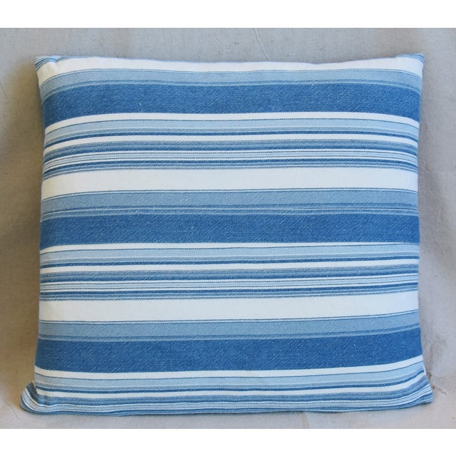 """Americana French Blue & White Nautical Stripe Feather/Down Pillows 20"""" X 18"""" - Pair For Sale - Image 3 of 13"""