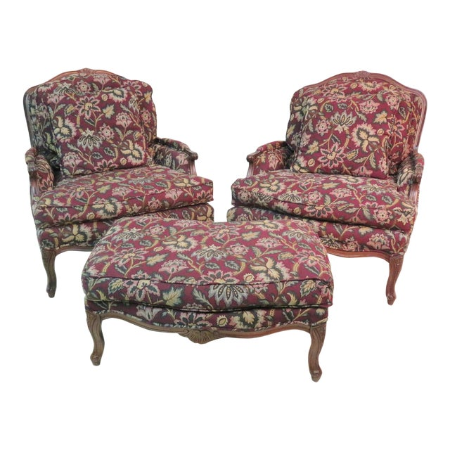 Louis XV Style Walnut Bergeres With Ottoman - Set of 3 For Sale