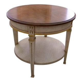 Heritage Two-Tiered Walnut Top and White-Washed Side Table