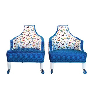 1960s Vintage Christian Lacroix Inspired Cobalt Butterfly Accent Chairs - a Pair For Sale