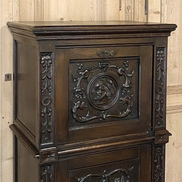 Antique Renaissance Oak Drop-Front Cabinet For Sale In Dallas - Image 6 of 12