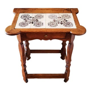 Rare 18th Century Colonial Porringer Tile Top Table For Sale