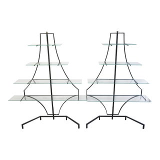 Vintage Wrought Iron and Glass Pagoda Shelves - a Pair For Sale