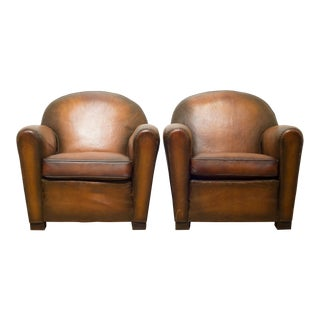 """French """"Cinema"""" Sheep Hide Club Chairs C.1940 For Sale"""