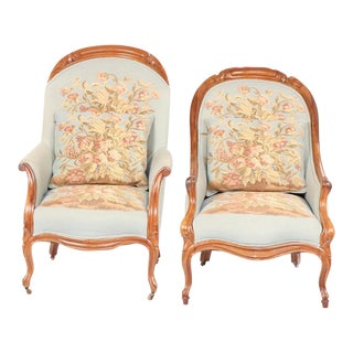 French Provincial Style Upholstered Armchairs- a Pair For Sale