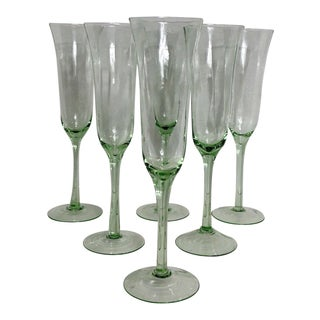 Vintage Handblown Green Glass Champagne Flute Stems - Set of 6 For Sale