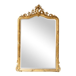 C. 1880 Large French Baroque Giltwood Mirror For Sale