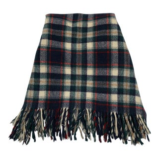 Vintage Pendleton Green and Navy Blue Wool on White Blanket/Throw For Sale
