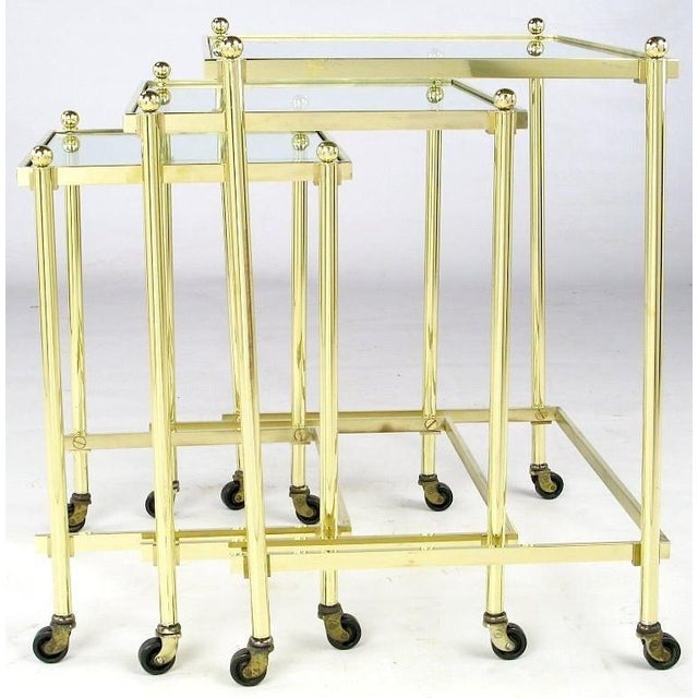 Mid-Century Modern Solid Brass Set of Three Nesting Tables in the Manner of Jansen For Sale - Image 3 of 6