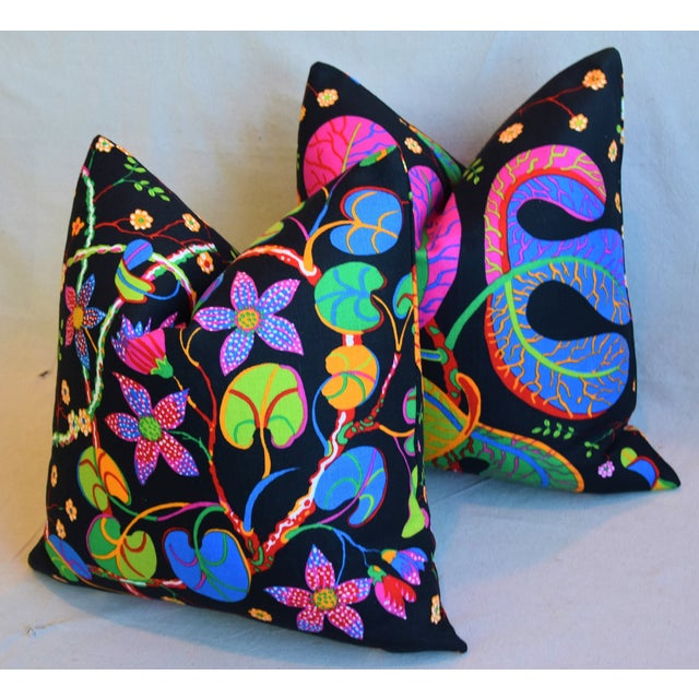 "Black Designer Josef Frank ""Teheran"" Floral Linen Feather/Down Pillows 18"" Square - Pair For Sale - Image 8 of 11"
