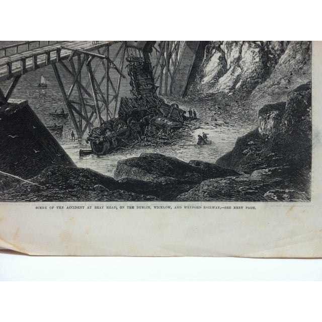 "1867 Antique Illustrated London News ""Scene of the Accident at Bray Head"" Print For Sale - Image 4 of 5"