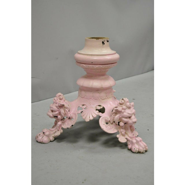 Antique French Empire Style Cast Iron Pedestal Side Table Base With Lions For Sale - Image 9 of 13