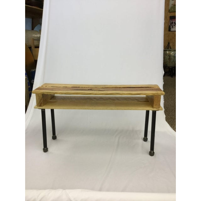 Industrial Pallet Wood Hand Finished Narrow Hallway Bench For Sale - Image 3 of 12