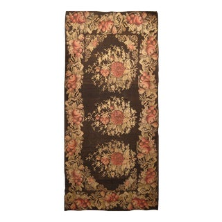 Hand Knotted Needlepoint Floral Rug - 6' X 13' For Sale