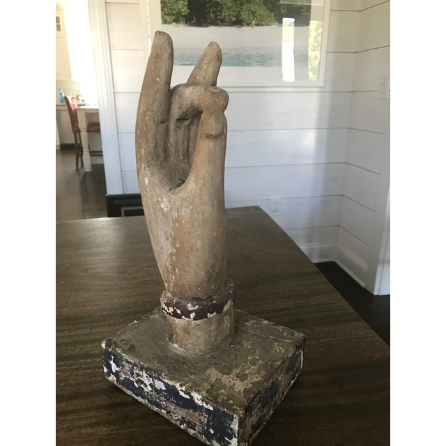 Shuni Mudra Position Carved Wooden Hands - a Pair - Image 4 of 6