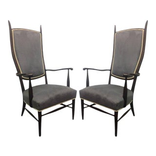 Pair of High Back Armchairs in Suede Upholstery For Sale