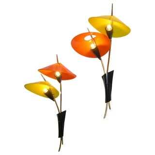 1950s Italian Whimsical Orange and Yellow Bronze Sconces - a Pair For Sale