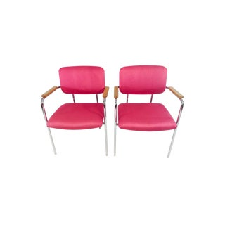 Midcentury Mod Boho Chic Pink Office Chairs - a Pair For Sale