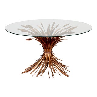 Mid Century Gilded Metal Wheat Sheaf Coffee Table With Round Glass Top For Sale