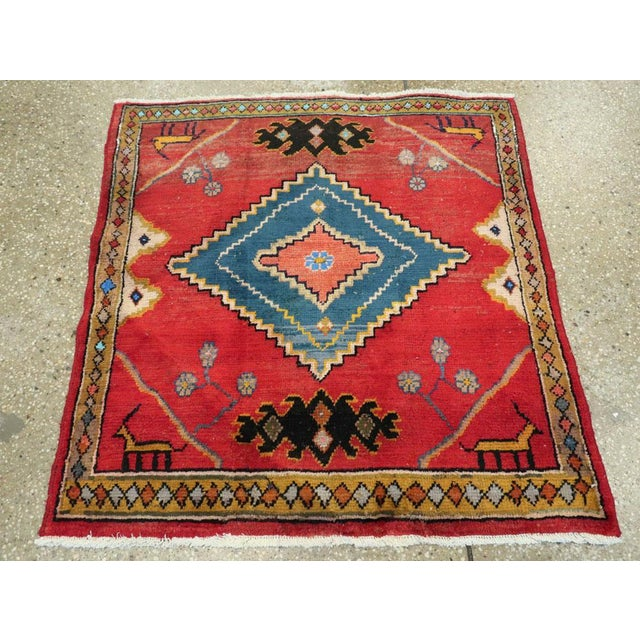 "Vintage Persian Mahal Rug – Size: 2' 9"" X 2' 11 For Sale - Image 4 of 10"