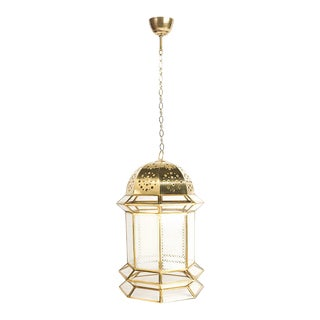 Moorish Moroccan Copper Clear Glass Hanging Lantern Pendant Lamp For Sale