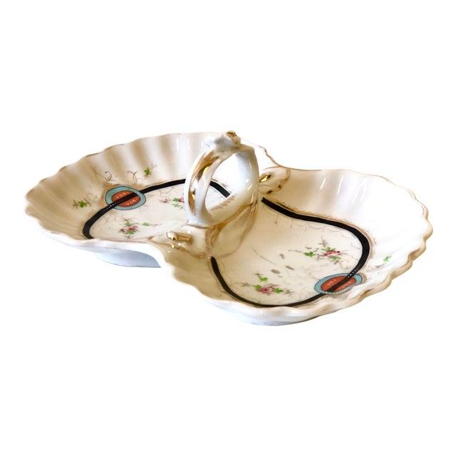 Art Deco Kpm Porcelain Double Bowl Serving Dish With Handle For Sale