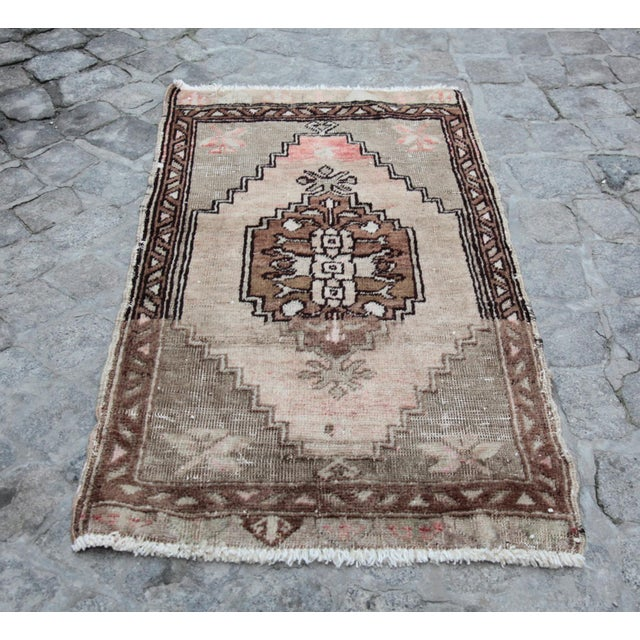 Cotton 1950s Vintage Petite Turkish Distressed Rug -1′6″ × 2′8″ For Sale - Image 7 of 7
