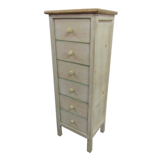 Country Style White Distressed Painted Lingerie Chest For Sale