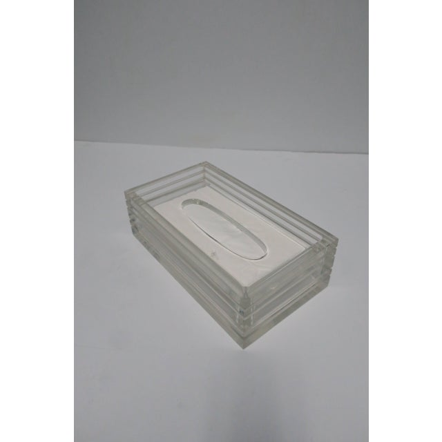 Plastic Modern Lucite Tissue Box in the Style of Charles Hollis Jones, Ca. 1970s For Sale - Image 7 of 11