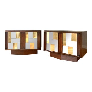 Paul Evans Cityscape Style Walnut Nightstands - a Pair For Sale