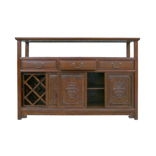 Chinese Glass Top High Credenza - Image 6 of 8