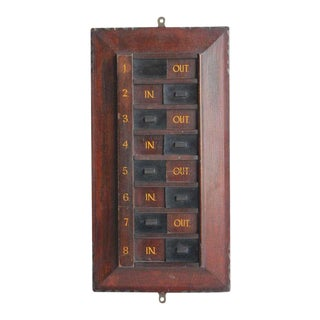 Antique Time In-Out Wall Plaque For Sale