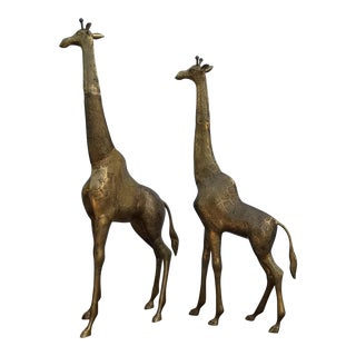 1980s Vintage Brass Giraffe Floor Figurines - A Pair For Sale