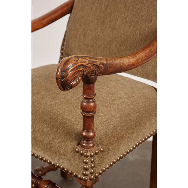 Wood 17th Century Louis XIII French Walnut Armchair with Upholstery For Sale - Image 7 of 11