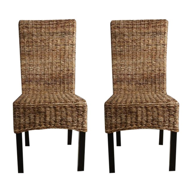 Rattan Dining Chairs - Pair - Image 1 of 8