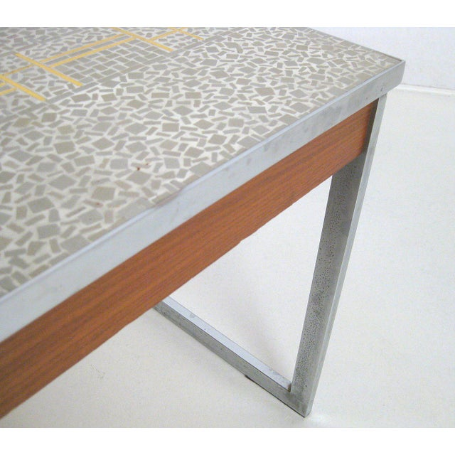 1960s 1960s Mid-Century Modern Chrome and Mosaic Coffee Table For Sale - Image 5 of 10