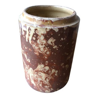 """Rustic Italian Antique Marbleized Canister- 9.75""""h For Sale"""