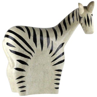 Large Midcentury Inlaid Stone Model of a Zebra by Maitland Smith For Sale